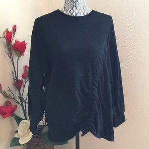 Black front tie Sweater
